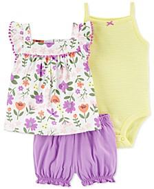 Baby Girl 3-Pc. Floral-Print Cotton Top, Bodysuit & Bloomer Shorts Set