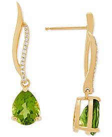 Peridot (2-1/5 ct. t.w.) & Diamond (1/20 ct. t.w.) Drop Earrings in 10k Gold