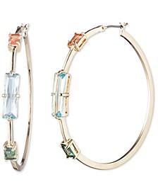 "Gold-Tone Large Rectangular Crystal Hoop Earrings, 2.08"""