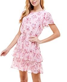 Juniors' Floral-Print Ruffled Tiered Dress