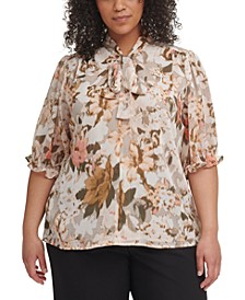Plus Size Floral-Print Tie Top