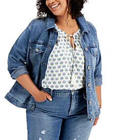 Plus Size Printed-Back Denim Jacket, Created for Macy's