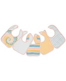 Baby Girls 5-Pack Printed Cotton Bibs