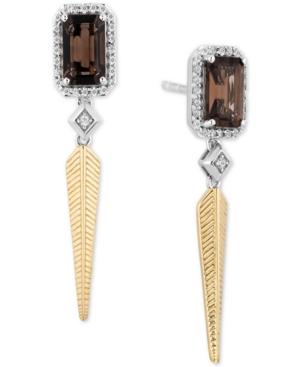 Smoky Quartz (5/8 ct. t.w.) & Diamond (1/5 ct. t.w.) Pocahontas Drop Earrings in Sterling Silver & 14k Gold