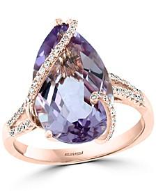 EFFY® Pink Amethyst (6-5/8 ct. t.w.) & Diamond (1/5 ct. t.w.) Statement Ring in 14k Rose Gold