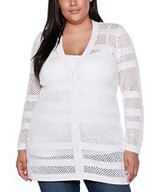Black Label Plus Size Button Front Cardigan