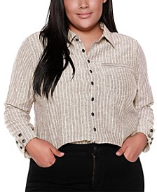 Black Label Plus Size Striped Long Sleeve Collared Button Up Shirt with Pocket