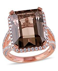 Smokey Quartz (12-1/2 ct. t.w.) and Diamond (1-1/2 ct. t.w.) Octagon Halo Ring in 14k Rose Gold