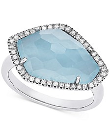 Milky Aquamarine (5-3/8 ct. t.w.) & Diamond (1/6 ct. t.w.) Ring in Sterling Silver
