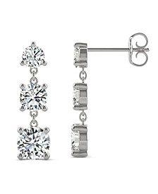 Moissanite Three Stone Drop Earrings 2-1/5 ct. t.w. Diamond Equivalent in 14k White Gold