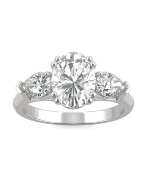 Moissanite Three Stone Engagement Ring 3 ct. t.w. Diamond Equivalent in 14k White Gold