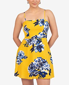 Juniors' Floral-Print Tie-Back Dress