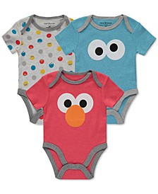 Baby Boys 3-Pk. Sesame Street Bodysuits