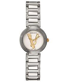 Women's Swiss Virtus Mini Silver-Tone Stainless Steel Bracelet Watch 28mm