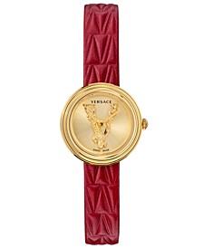 Women's Swiss Virtus Mini Gold-Tone Leather Strap Watch 28mm
