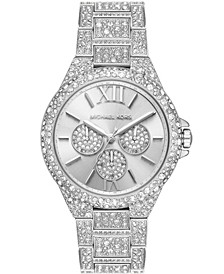 Women's Camille Multifunction Silver-Tone Stainless Steel Pave Bracelet Watch 42mm