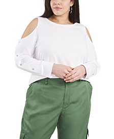 Plus Size Long Sleeve Cold Shoulder Snap Top