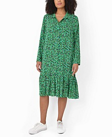 Plus Size Smudge Print Shirt Dress