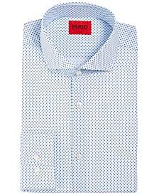 HUGO Men's Slim-Fit Kason Light Pastel Blue Geometric Print Dress Shirt