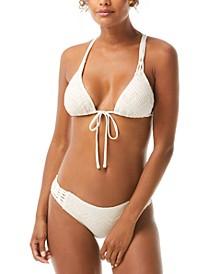 Crochet Tie-Front Triangle Bikini Top & Crochet Strappy Bikini Bottoms