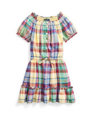 폴로 랄프로렌 Polo Ralph Lauren Little Girls Tiered Madras Dress,Yellow Multi