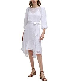 Textured Chiffon Midi Dress