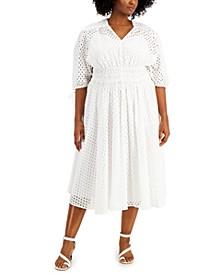 Plus Size Cotton Smocked-Waist Eyelet Midi Dress