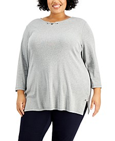 Plus Size 3/4-Sleeve Grommet Notch Tunic, Created for Macy's