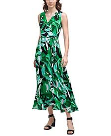 Floral-Print V-Neck Wrap Maxi Dress
