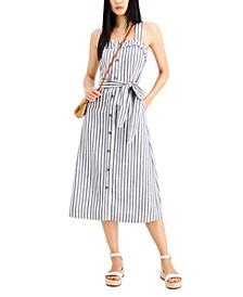 INC Square-Neck Striped A-Line Midi Dress, Created for Macy's