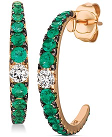 Costa Smeralda Emeralds (5/8 ct. t.w.) & Vanilla Diamond (1/5 ct. t.w.) C-Hoop Earrings in 14k Rose Gold