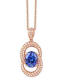 "EFFY® Tanzanite (1-5/8 ct. t.w.) & Diamond (1/3 ct. t.w.) 18"" Pendant Necklace in 14k Rose Gold"
