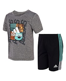 Little Boys Short Sleeve Graphic T-shirt and Speed Shorts, Set of 2