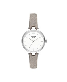 Women's Holland Three-Hand Silver-Tone Glitter Leather Watch 34mm