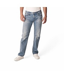 Men's Light Indigo Wash Straight Leg Jeans