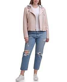 Trendy Plus Size Hooded Faux-Leather Moto Jacket