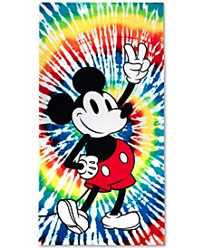 "Mickey Mouse Rainbow Tie-Dyed Cotton 34"" x 64"" Beach Towel"