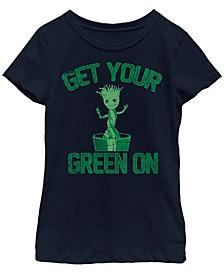 Big Girls Marvel Groot Green Short Sleeve T-shirt