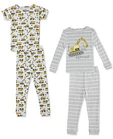 Baby Boys 4-Pc. Construction Printed Cotton Pajamas Set