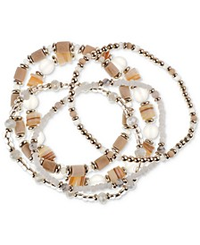 Gold-Tone 5-Pc. Set Beaded Stretch Bracelets, Created for Macy's