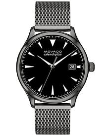 Men's Swiss Heritage Series Calendoplan Gray Ion-Plated Steel Mesh Bracelet Watch 40mm