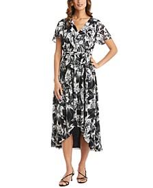 Petite Printed Faux-Wrap Dress