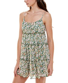 Juniors' Tiered Floral Fit & Flare Dress