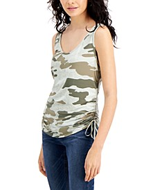 Trendy Plus Size Printed Side-Ruched Sleeveless Top