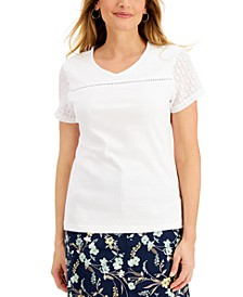 Cotton Short Sleeve V-Neck Top, Created for Macy's