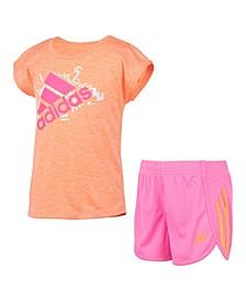 Little Girls Short Sleeve Sport T-shirt and Mesh Shorts Set