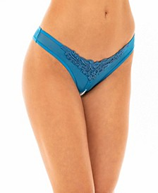 Women's Crotchless Thong Underwear with Pearls and Venise Detail
