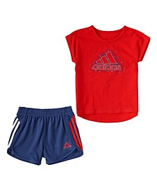 Little Girls Short Sleeve Graphic Tee and Shorts Set