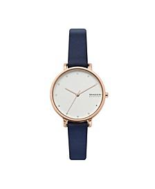 Women's Hagen Three-Hand Rose Gold-Tone Navy Leather Watch, 34 mm