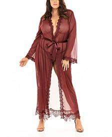 Plus Size Eyelash Lace Floor Length Robe with Satin Sash